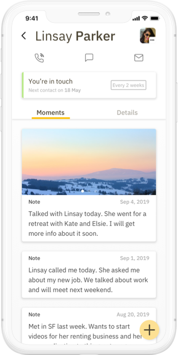 Screenshot of Contact Journal's Moments screen