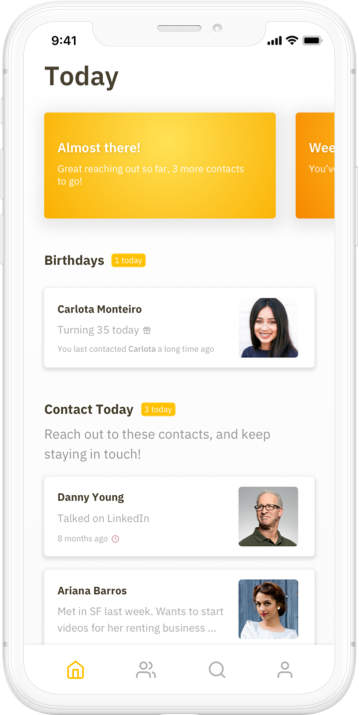 Screenshot of Contact Journal's Today screen